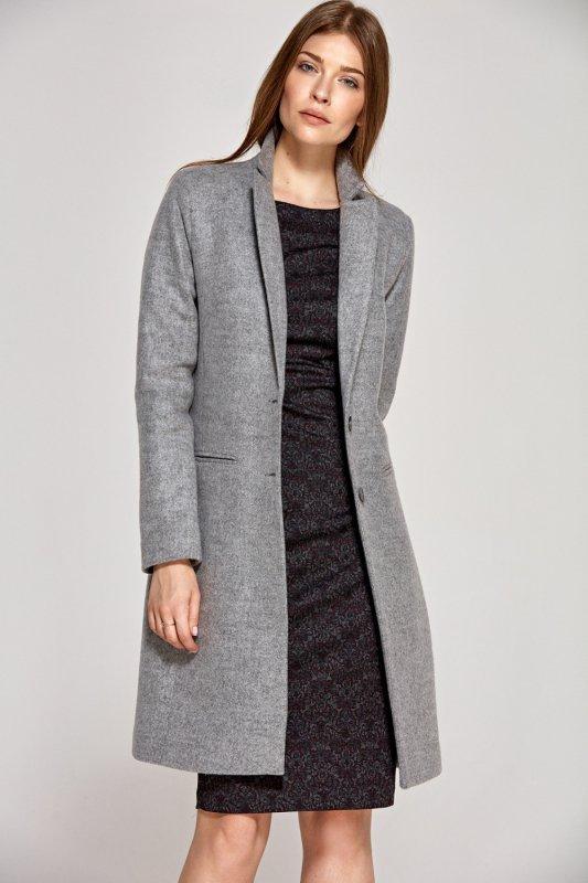 Klasyczny szary płaszcz PL12 Grey - Nife