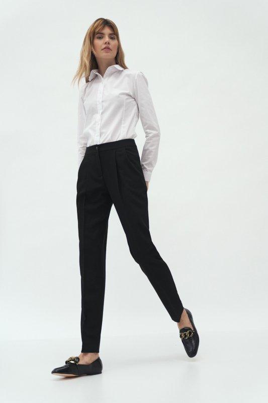 Spodnie Czarne spodnie z zakładką SD59 Black - Nife