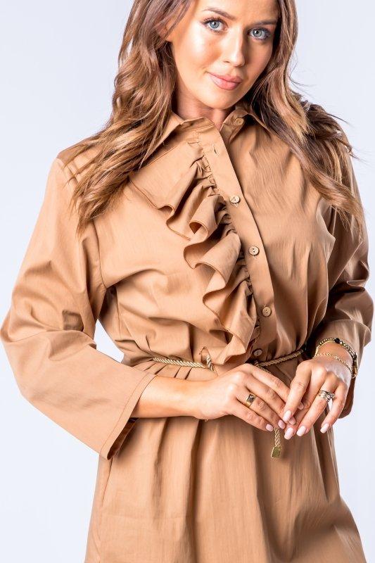 tunika o koszulowym kroju z falbankami na biuście