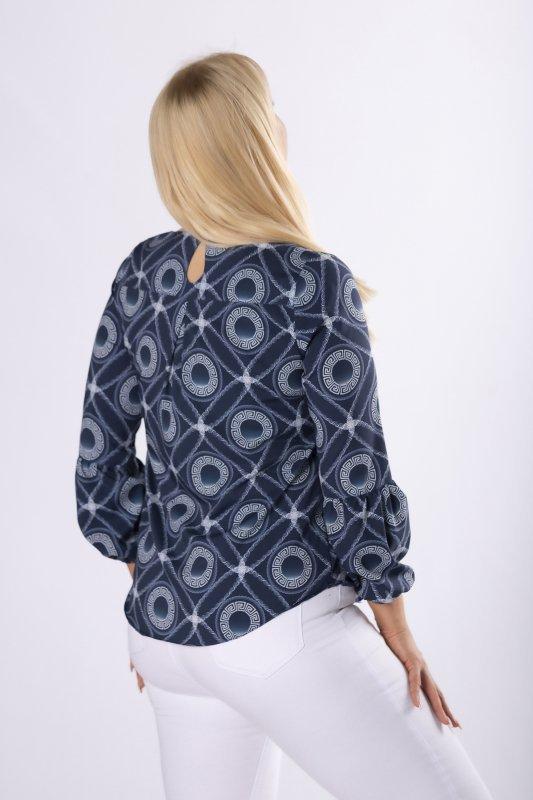 wzorzysta bluzka z bufiastymi rękawami