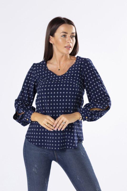 koszulowa bluzka z bufiastymi rękawami
