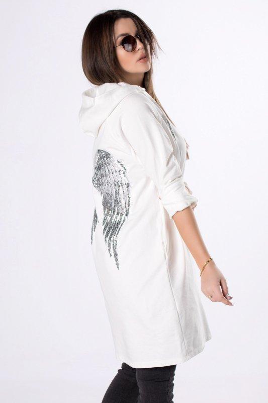 długa bluza z cekinową aplikacją na plecach