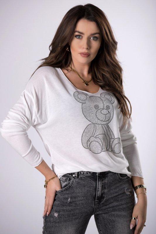 sweterkowa bluzka z dżetami