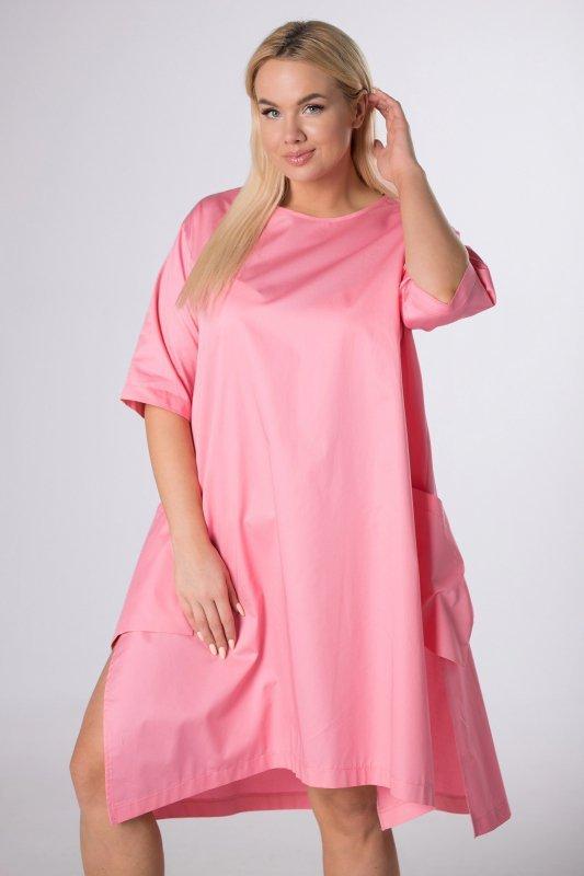 sukienka oversize z asymetrycznym dołem
