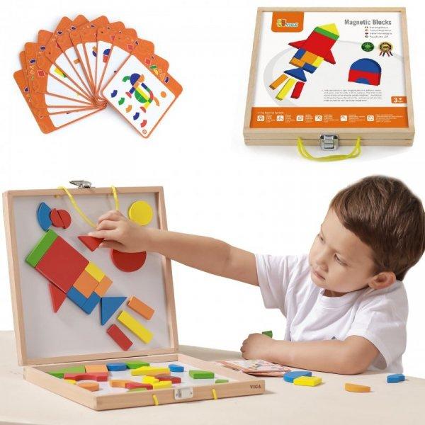 Drewniana Magnetyczna układanka w walizce - Viga Toys