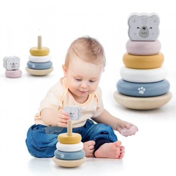 Drewniana Piramida edukacyjna - Miś Polarny - PolarB - Viga Toys