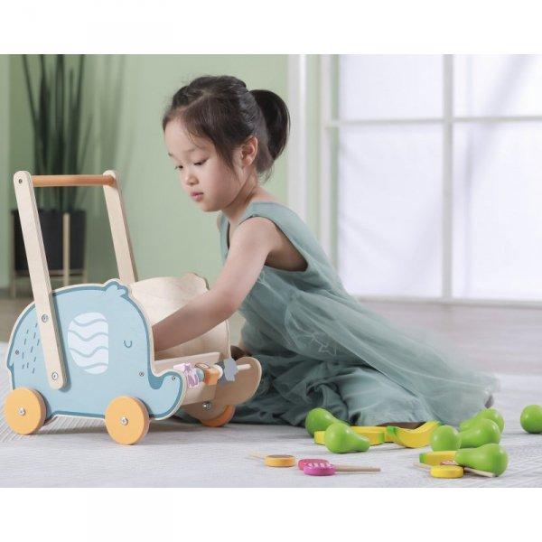 Drewniany Wózek 2w1 Chodzik Pchacz Słonik - PolarB - Viga Toys