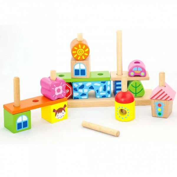 Drewniane Kolorowe Klocki Miasteczko 26 el. - Viga Toys