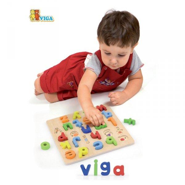 Puzzle Edukacyjne Drewniana Układanka Alfabet Literki - Viga Toys