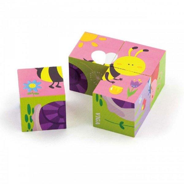 Układanka Drewniana Puzzle Owady 4 Klocki 6 Obrazków - Viga Toys