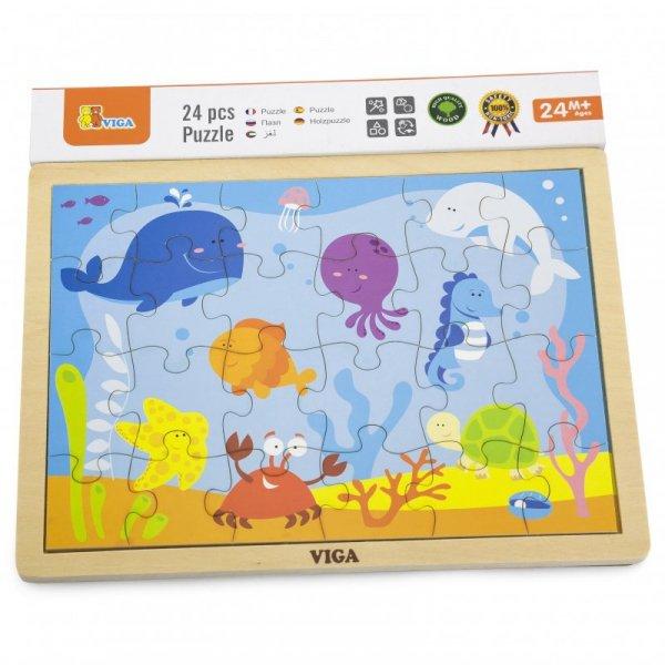 VIGA Drewniane Puzzle Ocean 24 Elementy