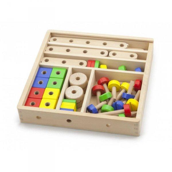 Drewniany zestaw konstrukcyjny 53 elementy w skrzynce - Viga Toys