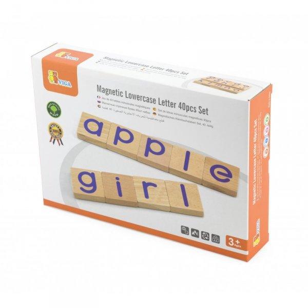 Zestaw Drewnianych Magnetycznych literek 40 elementów - VIGA Toys