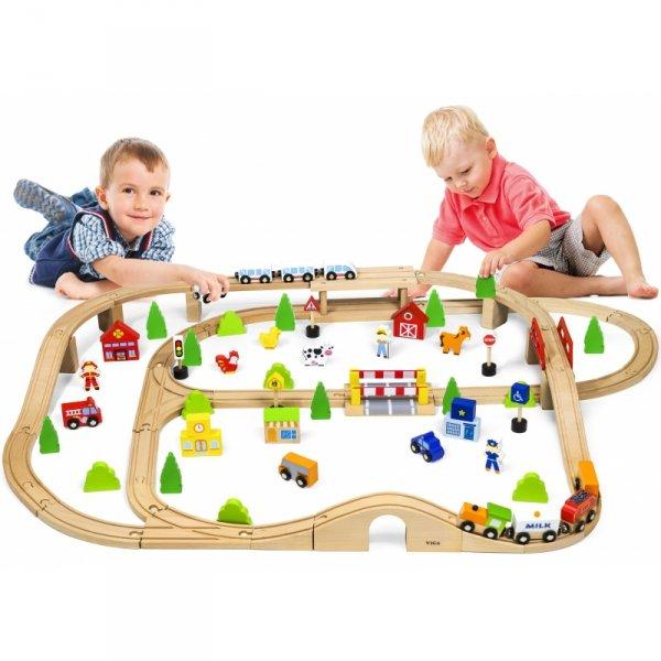 Drewniana Kolejka z pociągami tor dla dzieci 90 elementów - Viga Toys
