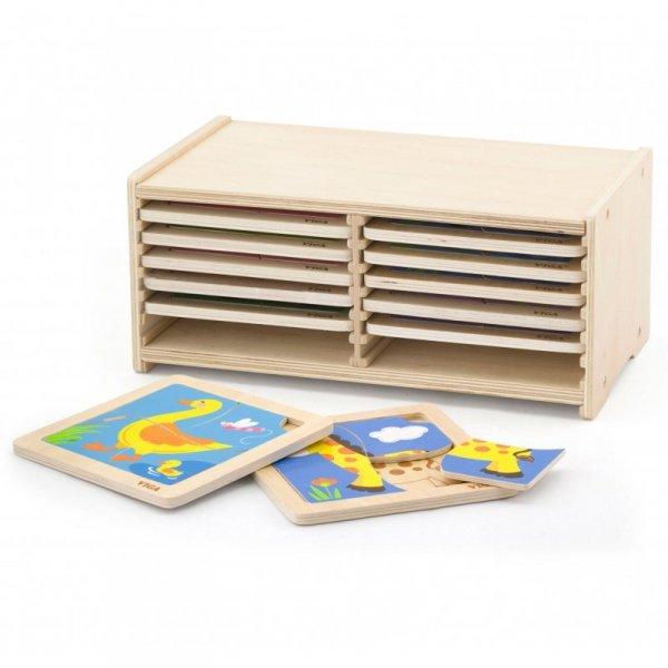 Puzzle drewniane 12 plansz po 4 puzzle w stojaku - Viga Toys