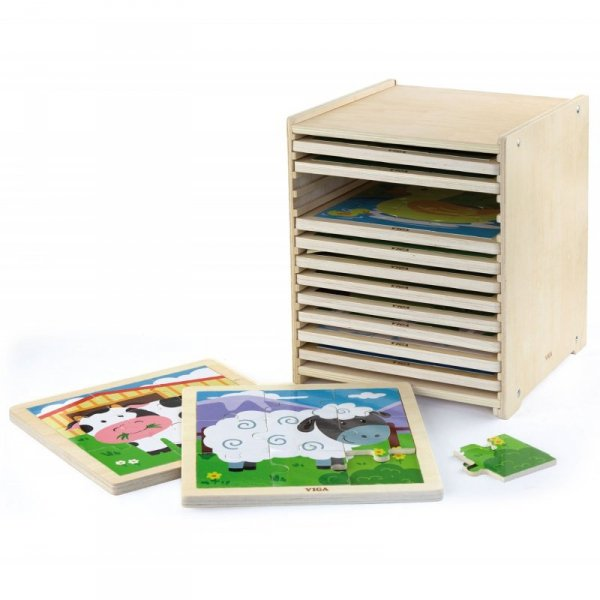 Puzzle drewniane 12 plansz w stojaku - Viga Toys