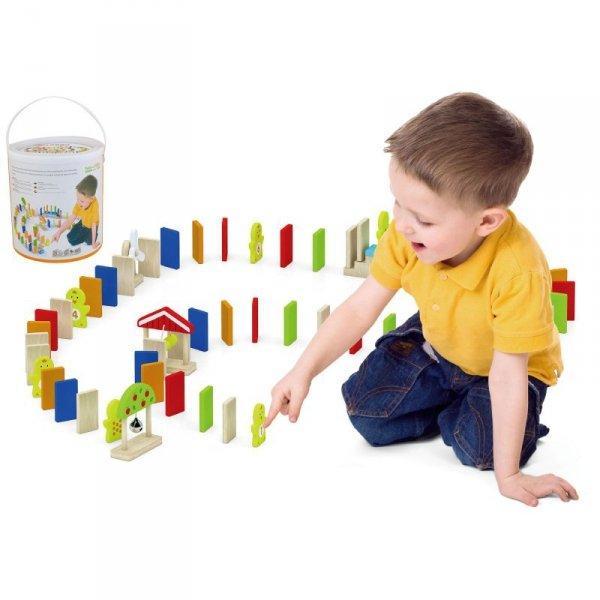 Zestaw Drewniane Klocki Gra Domino Farma 116 Elementów - Viga Toys