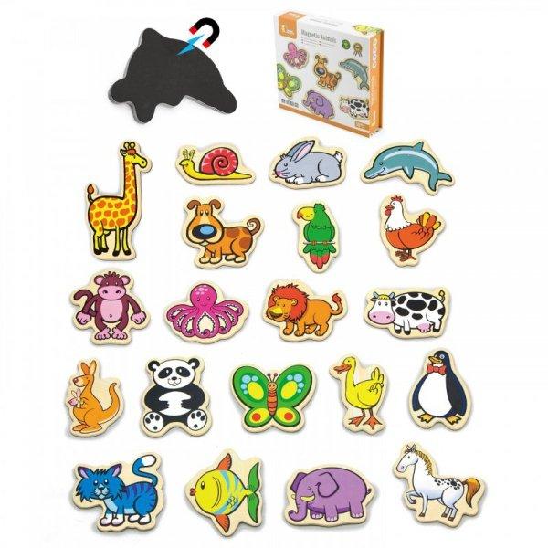 Drewniane magnesy - ze zwierzątkami 20 elementów - Viga Toys