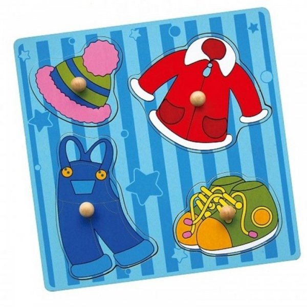 Drewniane Puzzle Ubrania Układanka Niespodzianka - Viga Toys
