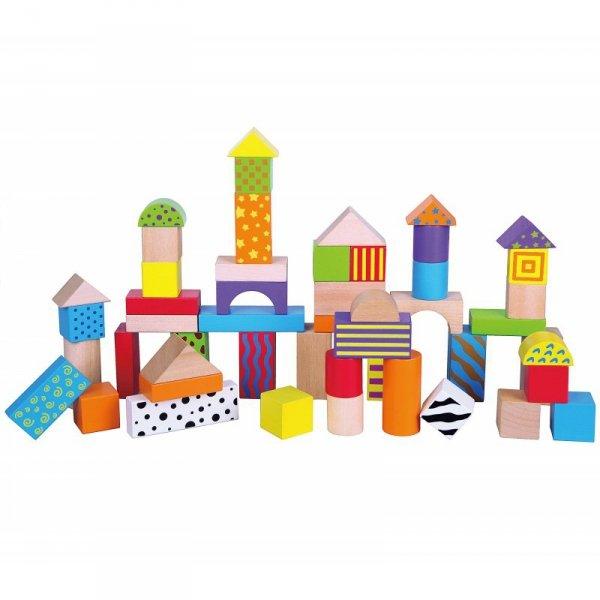 Drewniane klocki Edukacyjne - Wiaderko 50 elementów -  Viga Toys