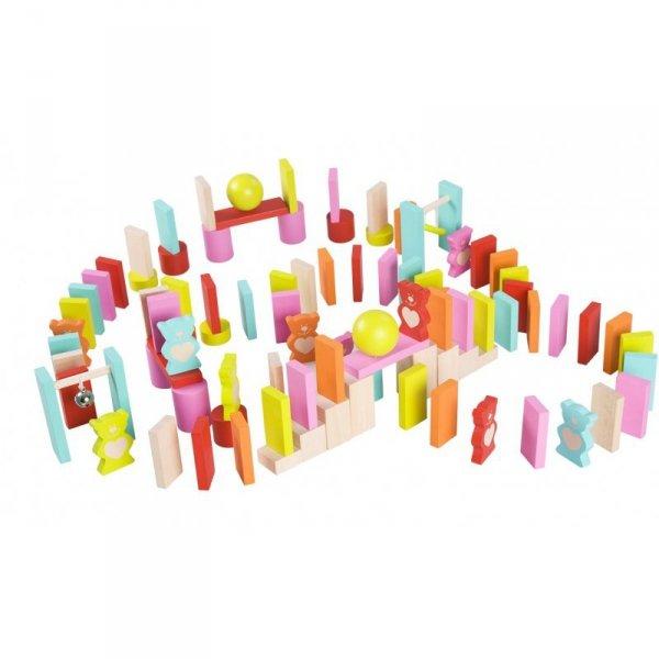 Drewniane Kolorowe Domino 105 elementów Misie - Classic World