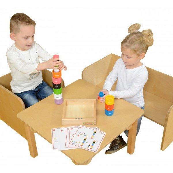 Drewniana Gra Dla Dzieci Kolorowe Klocki i Kubeczki - Masterkidz