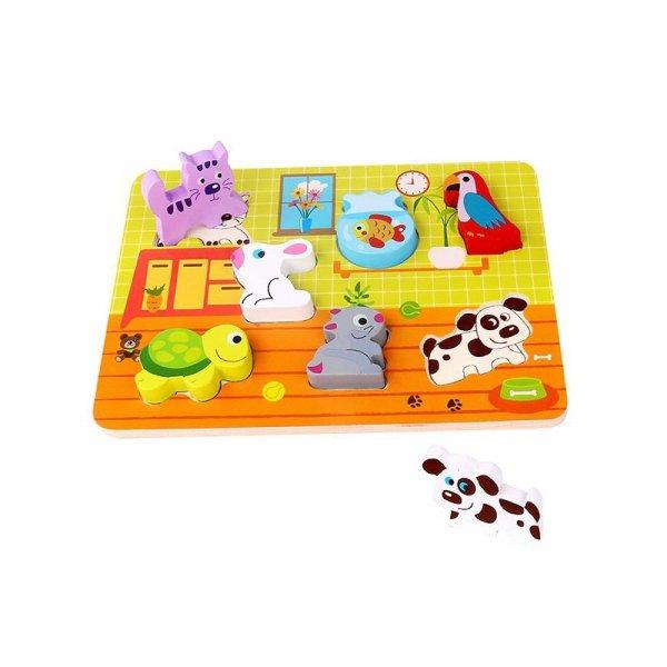 Grube Puzzle Zwierzęta Domowe Dopasuj Kształty - TOOKY TOY