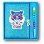 Stnux Pamiętnik niebieski brokatowy Tygrys