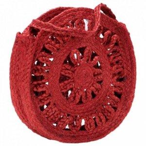 Okrągła torebka, ażurowa, rdzawa, ręcznie robiona, jutowa