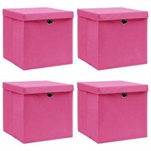 Pudełka z pokrywami, 4 szt., różowe, 32x32x32 cm, tkanina