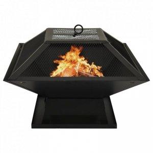 Palenisko i grill 2-w-1, z pogrzebaczem, 46,5x46,5x37 cm, stal