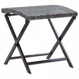 Składany stołek, rattan PE, szary