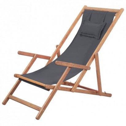 Składany leżak plażowy, tkanina i drewniana rama, szary