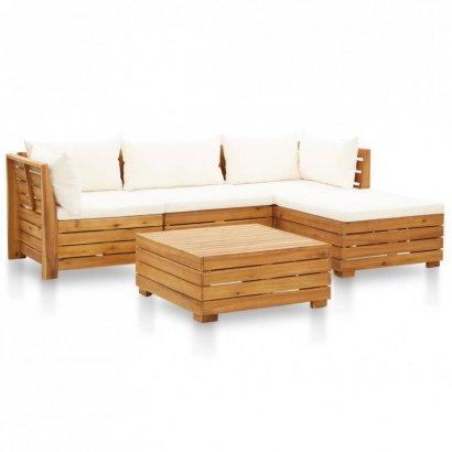 5-cz. zestaw mebli ogrodowych z poduszkami, akacjowy, kremowy