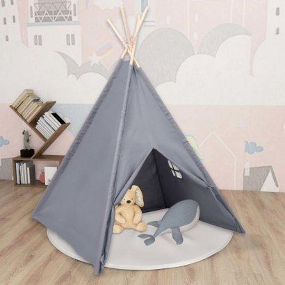 Szary namiot dziecięcy tipi, z torbą, peach skin, 120x120x150cm
