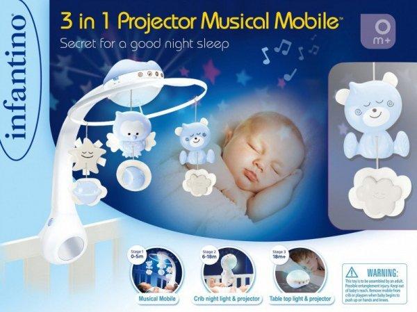 B-kids Muzyczna karuzelka Infantino 3w1 niebieska
