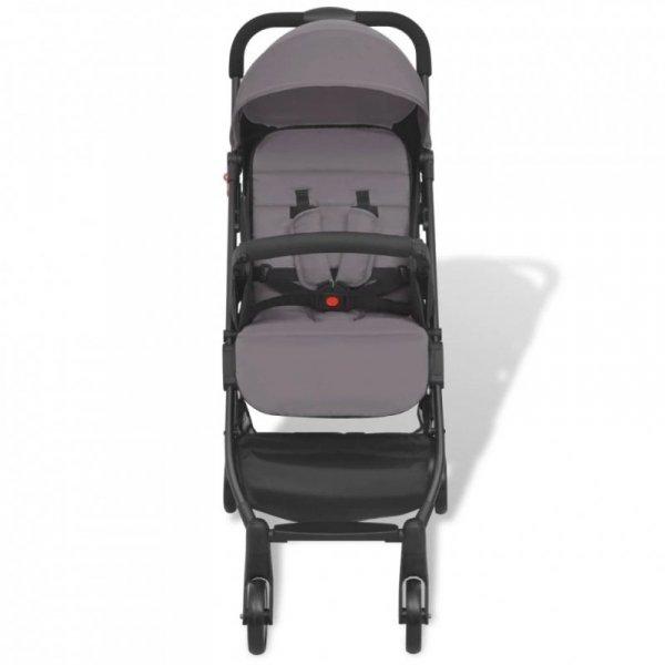 Szary, kompaktowy wózek spacerowy, 89x47,5x104 cm