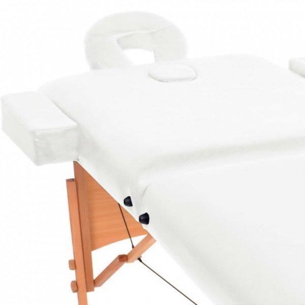 Składany stół do masażu, dwuczęściowy, grubość 10 cm, biały