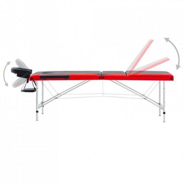 3-strefowy, składany stół do masażu, aluminium, czarno-czerwony