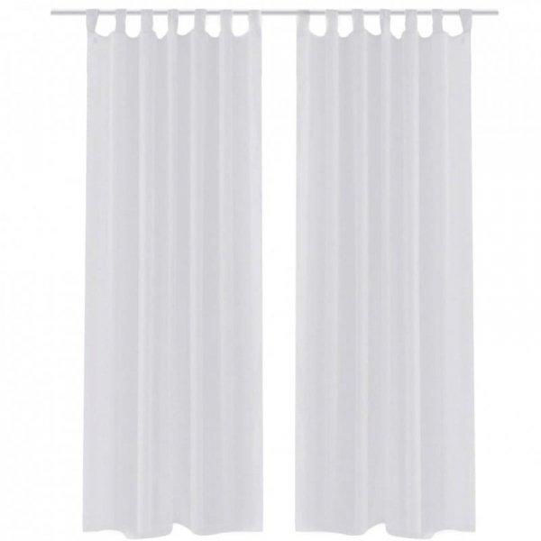 Zasłona na szelkach, prześwitująca, biała, 140 x 225 cm, 2 sztuki