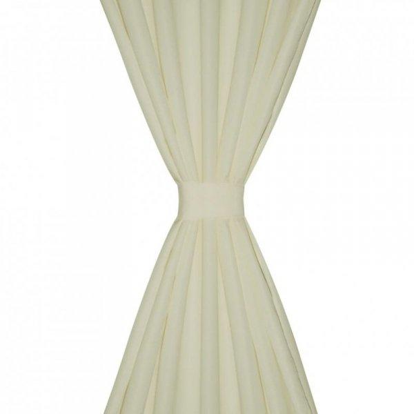 Kremowe atłasowe zasłony z pętelkami 2 szt. 140 x 225 cm