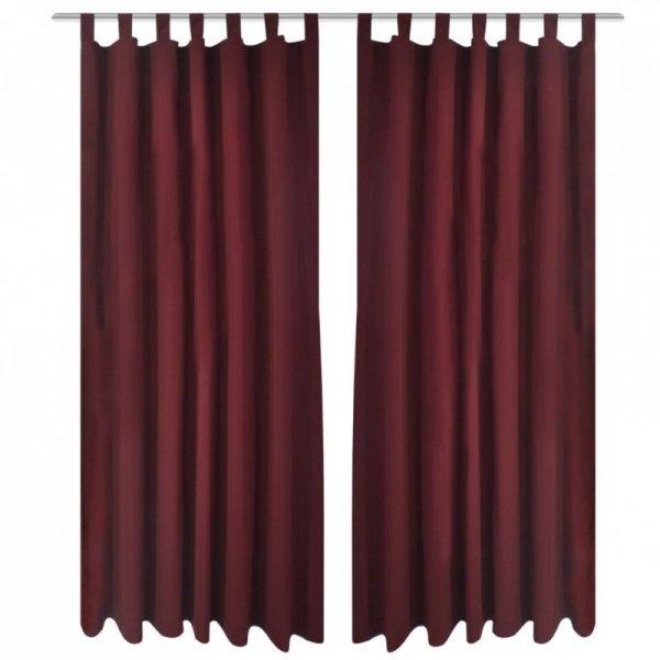 Bordowe atłasowe zasłony z pętelkami 2 szt. 140 x 175 cm