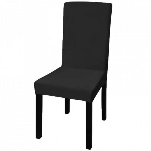 Czarne, rozciągliwe pokrowce na krzesła, 6 sztuk