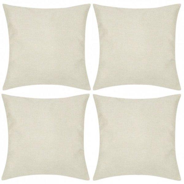 4 Beżowe poszewki na poduszki o lnianym wyglądzie 80 x 80 cm