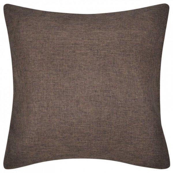 4 Brązowe poszewki na poduszki o wyglądzie lnianym 80 x 80 cm