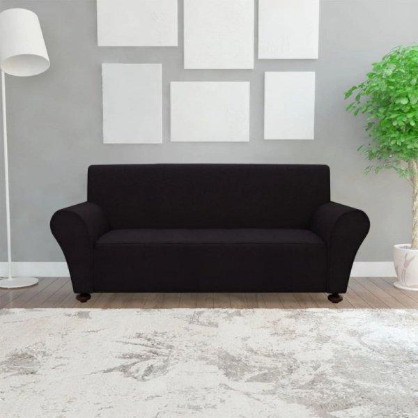 Elastyczny pokrowiec na sofę, z dżerseju, czarny