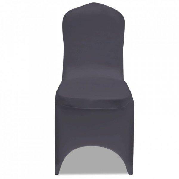 Elastyczne pokrowce na krzesło, 6 szt., antracytowe