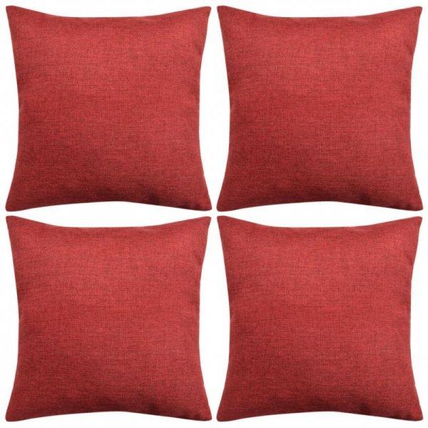Poszewki na poduszki 4 szt. lniane, burgundowe 40x40 cm