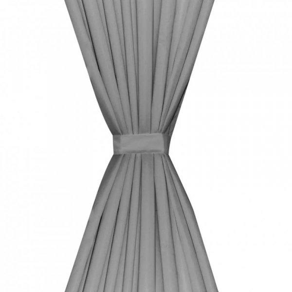 Zasłony zaciemniające, 2 szt, dwuwarstwowe, 140 x 175 cm, szare
