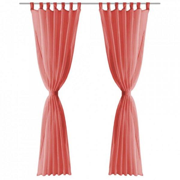 Zasłony z woalu, 2 sztuki, 140 x 175 cm, kolor czerwony